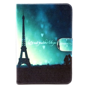Patterned Wallet Leather Stand Case for iPad Mini 3 / 2 / 1 - Eiffel Tower and Lovers