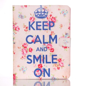 For iPad 2 3 4 Leather Case Smart Awakening - Pretty Roses and Quote Keep Calm and Smile On