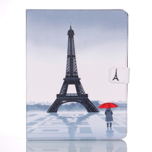 For iPad 2 3 4 Leather Cover Smart Awakening - Eiffel Tower and Woman Holding Umbrella