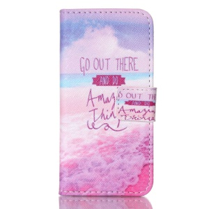 Magnetic Flip Wallet Leather Stand Cover for iPhone SE 5s 5 - Sea and Quotes