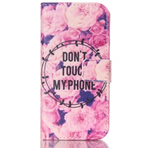 Wallet Leather Stand Case for iPhone 6 - Flowers and Do not Touch my Phone