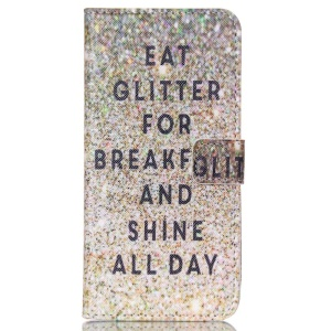 Magnetic Leather Stand Case for iPhone 6 Plus - Eat Glitter for Breakfast and Shine All Day