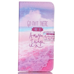 Magnetic Leather Card Holder Phone Case for iPhone 6 Plus - Quote and Beach
