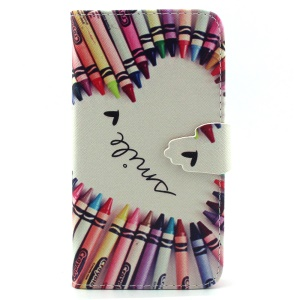 Crayons Circled Heart Leather Wallet Stand Case for iPhone 6 4.7 inch