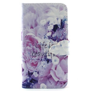Life Is Beautiful and Flower Leather Wallet Stand Cover for iPhone 6 4.7 inch