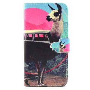 Goat Pattern PU Leather Wallet Stand Shell for iPhone 6 4.7 inch