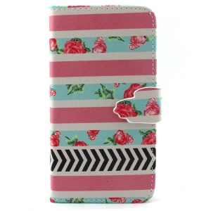 Roses and Stripes Wallet Stand PU Leather Case for iPhone 6 4.7 inch