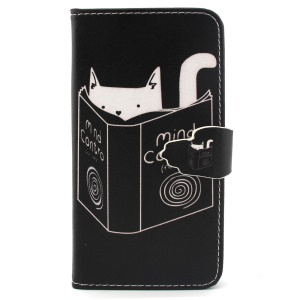 Cat Reading Book Flip Wallet Leatherette Case Shell for iPhone 6 4.7 inch