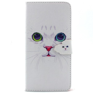 For iPhone 6 Plus Flip Wallet Stand Leather Case - Cat with Red Nose