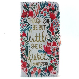 For iPhone 6 Plus Wallet Stand PU Leather Phone Case - Flower and Quote