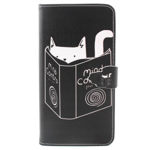 For iPhone 6 Plus Wallet Stand PU Leather Phone Cover - Cat Reading Book