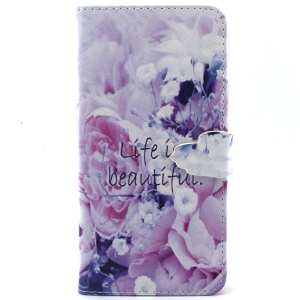 For iPhone 6 Plus Wallet Stand Leather Protective Shell - Life Is Beautiful and Flower
