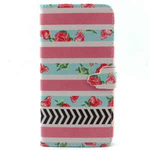 For iPhone 6 Plus Wallet Stand Leather Protective Case - Roses and Stripes