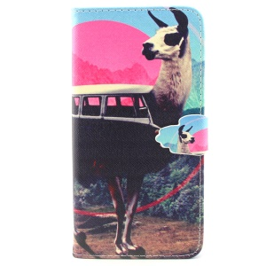 For iPhone 6 Plus Wallet Stand Leather Protective Cover - Goat Pattern