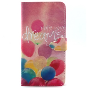 For iPhone 6 Plus Magnetic Card Holder Leather Cover Shell - Colorful Balloons
