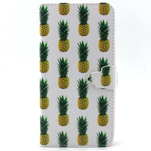 For iPhone 6 Plus Magnetic Card Holder Leather Case Shell - Pineapples Pattern