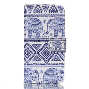 Wallet Leather Stand Cover for iPod Touch 5 - Tribal Elephant