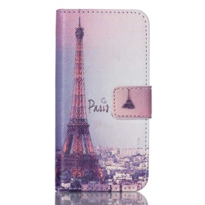 Wallet Leather Stand Case Cover for iPod Touch 5 - Paris Eiffel Tower