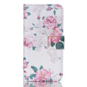 PU Leather Card Holder Cover for iPod Touch 5 - Rose Flowers
