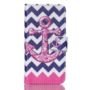 PU Leather Protective Case Cover for iPod Touch 5 - Anchor and Chevron