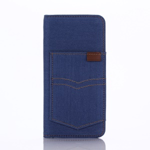 Pocket Design Jeans Cloth Wallet Leather Case for iPhone 6s 4.7-inch - Baby Blue