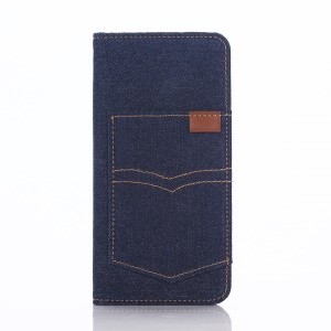 For iPhone 6s Plus 5.5-inch Pocket Design Jeans Cloth Wallet Leather Cover - Dark Blue
