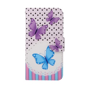 Crazy Horse Magnetic Wallet Leather Stand Protective Case for iPhone 6s / 6 - Butterflies and Dots