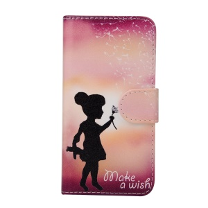 Crazy Horse Flip Wallet Leather Stand Cover Case for iPhone 6s / 6 - Little Girl with Dandelion