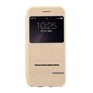 KINGXBAR Business View Window Leather Cover with Touch Slide Button for iPhone 6s / 6 - Gold