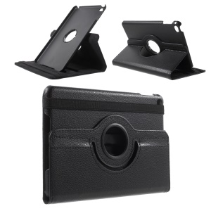 For iPad mini 4 Lychee 360-Rotation Leather Stand Case Cover - Black