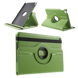 For iPad mini 4 Lychee 360-Rotation Stand Leather Case Accessory - Green