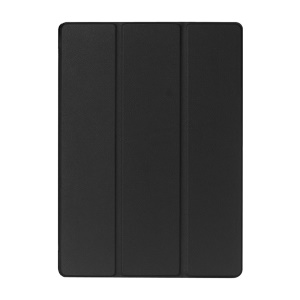 For iPad Pro 12.9 inch Tri-Fold Stand Lychee Leather Smart Case Cover - Black