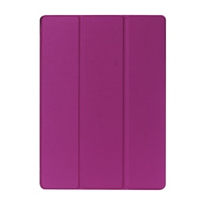 Lychee Tri-Fold Stand Smart Leather Tablet Cover for iPad Pro 12.9 inch - Purple