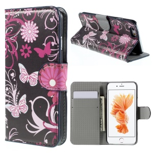 Wallet Leather Stand Cover for iPhone 6s - Butterfly Flowers