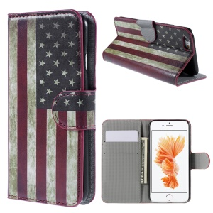 PU Leather Wallet Case for iPhone 6s - Retro American Flag