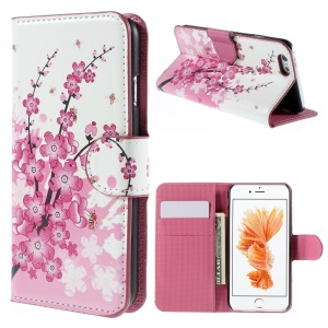 PU Leather Case Cover for iPhone 6s - Plum Blossom