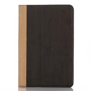 Wood Grain Smart Leather Wallet Case for iPad mini 4 - Black