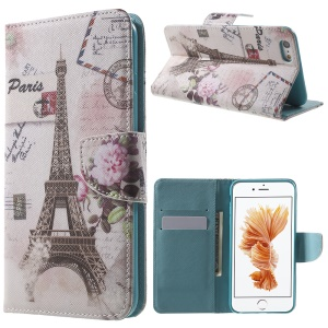 Patterned Wallet Leather Stand Case for iPhone 6s / 6 4.7 inch - Eiffel Tower and Flower