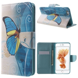 Patterned Wallet Leather Stand Cover for iPhone 6s / 6 4.7 inch - Blue Butterfly