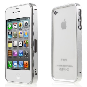 2-in-1 Slide-on Metal Frame Bumper for iPhone 4s 4 - Silver