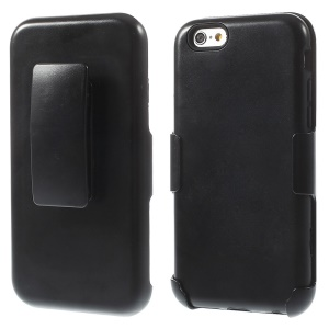 Glossy Plastic & Silicone Slide Holster Case w/ Belt Clip for iPhone 6 - Black