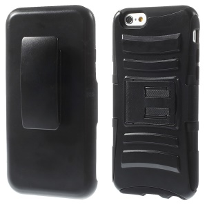 Silicone & Plastic Combo Belt Clip Holster Stand Case for iPhone 6s / 6 - Black