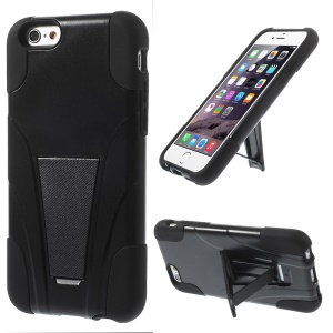 2 in 1 Plastic & Silicone Hybrid Case w/ Kickstand for iPhone 6s 6 4.7 inch - Black
