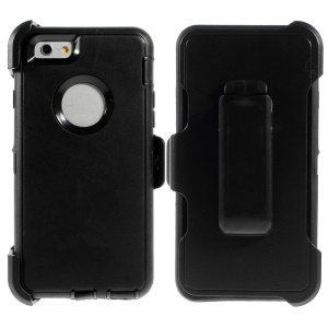 Shockproof PC + TPU Hybrid Case w/ Swivel Belt Clip Stand for iPhone 6 - Black