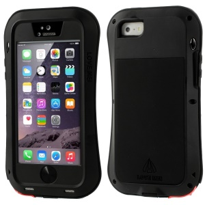 LOVE MEI Metal + Silicone + Gorilla Glass Hybrid Case for iPhone 5s 5 - Red Port Cover / Black