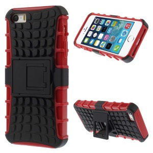 Detachable PC and TPU Cover for iPhone SE 5s 5 with Kickstand - Red