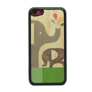 Elephant Family Pattern Glittery Powder Back Phone Cover for iPhone 5c