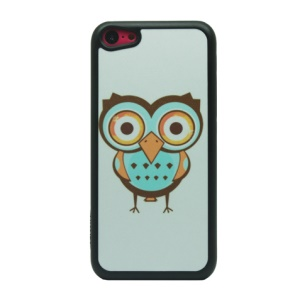 Owl Pattern Glittery Powder Back Phone Cover for iPhone 5c