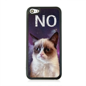 Leather Coated PC Shell for iPhone 5c - Angry Cat Pattern