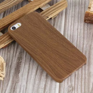 Wood Pattern Leather Skin PC Hard Case para iPhone SE 5s 5 - café